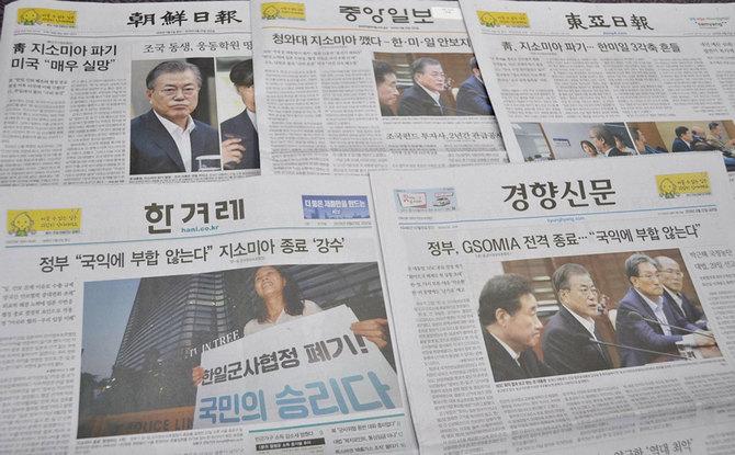 日韓軍事情報包括保護協定(GSOMIA)破棄を伝える韓国各紙
