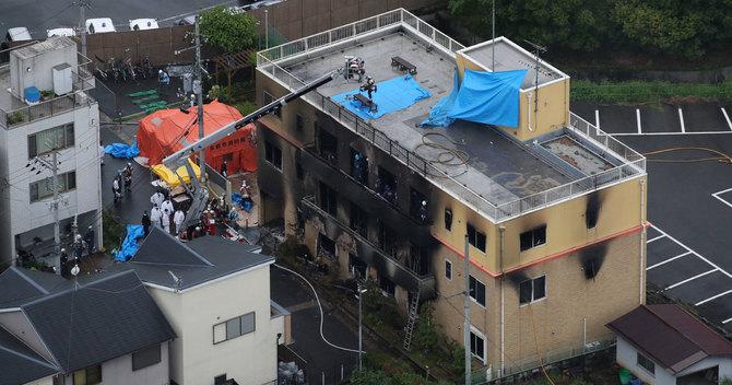 放火事件があったアニメ制作会社「京都アニメーション」のスタジオ=18日午後、京都市伏見区