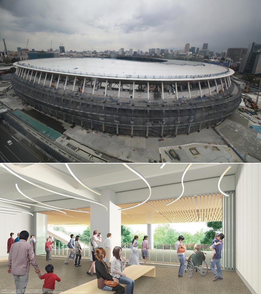 新国立競技場外観(上)、外周に沿った憩いのスぺース「風のテラス」(下)。 上:JSC提供、下:大成建設