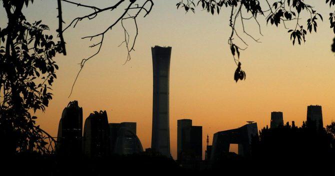 夕日に染まる北京のビジネス街