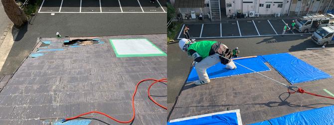被災者がブルーシートを張った屋根(左)と、職人による施工後の屋根(右) (提供:ユニオンテック)
