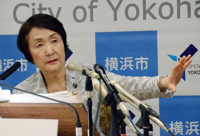 会見する横浜市の林文子市長