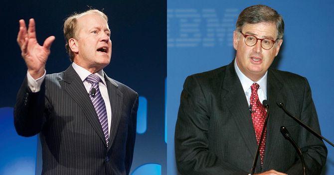 シスコシステムズ元CEOのジョン・チェンバース氏(左)とIBM元会長のサミュエル・パルミサーノ氏