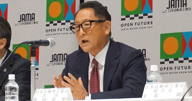 日本自動車工業会会長として記者会見する豊田章男トヨタ自動車社長