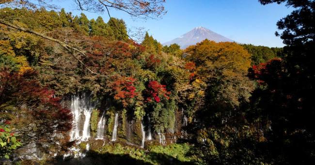 日本の絶景、白糸の滝と富士山