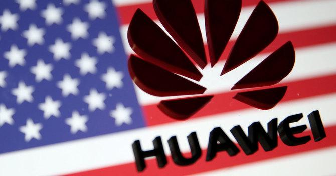 ファーウェイのロゴと星条旗