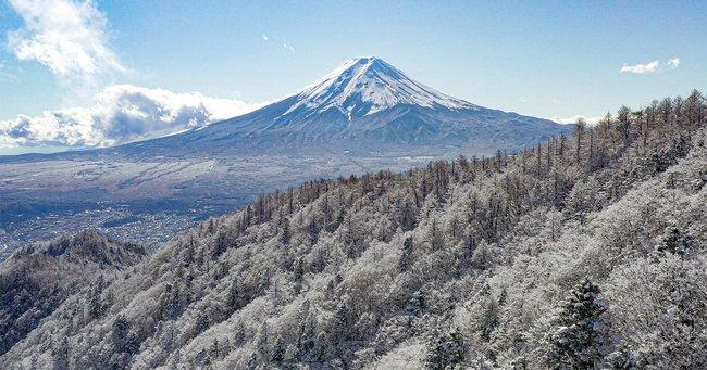 冬景色の三ツ峠から望む富士山