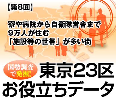"""寮や病院から自衛隊営舎まで9万人が住む「施設等の世帯」が多い街 """"東京ひとり暮らし世帯""""はここにも"""