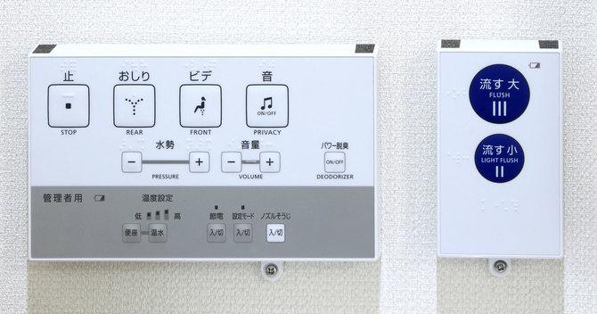 女性用トイレに比べると、男性用トイレの擬音機設置率は低いようです。