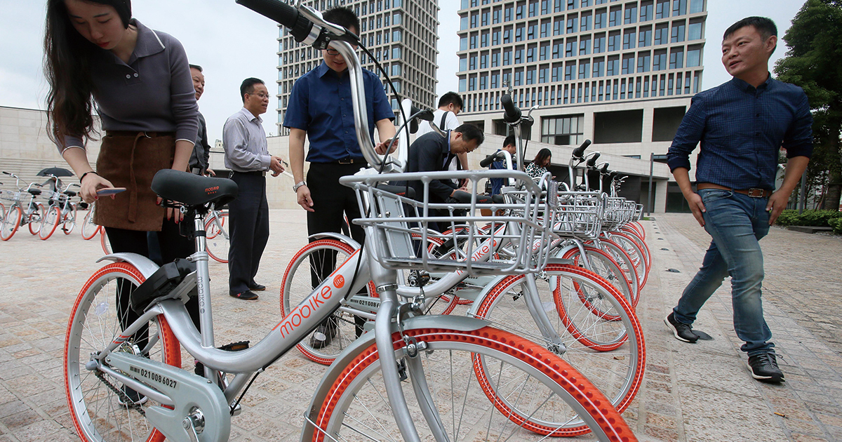 """上海で人気沸騰の""""IT自転車""""1日1万社超の起業大国・中国"""
