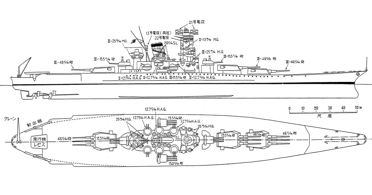 戦艦大和の主砲、副砲は、戦闘力を最大限に考慮した配置だった