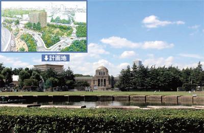 荘厳な雰囲気でたたずむ聖徳記念絵画館。その背後の森から「神宮外苑ホテル」が姿を現す。 出所:新宿区「