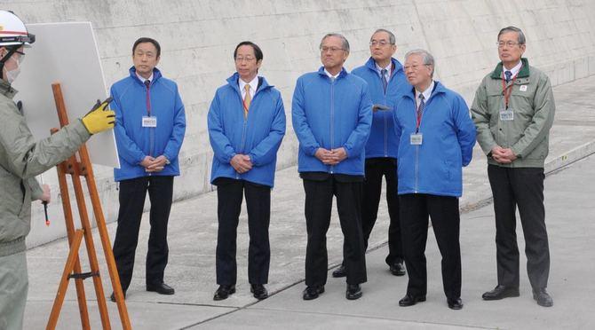 中部電力浜岡原子力発電所を視察した中西宏明・経団連会長