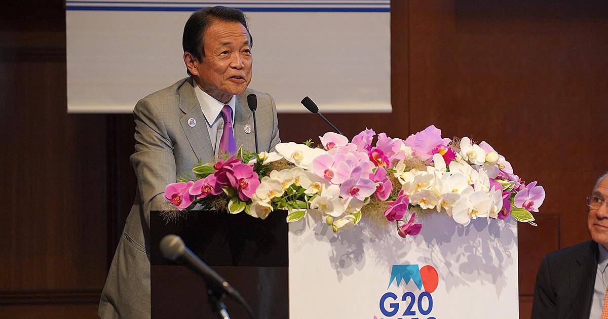 日本銀行の黒田東彦総裁とG20会合の共同議長を務める麻生太郎財務相